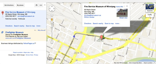 Google map of Fire Fighters Museum